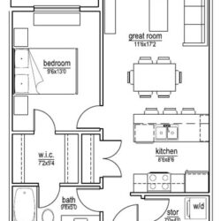 B1 unit – 1 bedroom (624 sf)