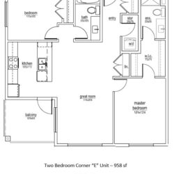 E Unit – 2 bed/2 bath Corner (958 sf)