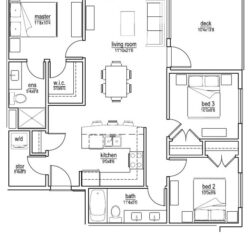 F Unit – 3 bedroom (1030 sf)