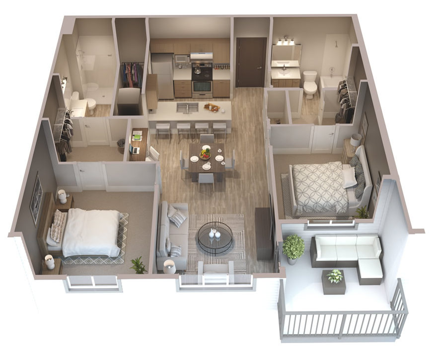 house with design pin but bedrooms mirrored this contemporary enjoy plans apartment area bathrooms two bedroom along uber compact apartments in functional oaks bay and a living